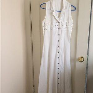 Dresses & Skirts - White denim studded fit & flare sleeveless dress